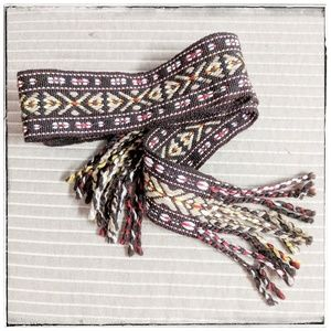 J. Crew Woven Tribal Tie Belt Sz S/M